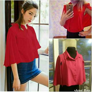 -Yunik- Cape Sleeves Button Down Blouse In Red