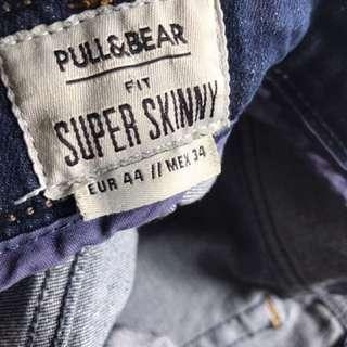 Celana jeans biru tua pull&bear super skinny