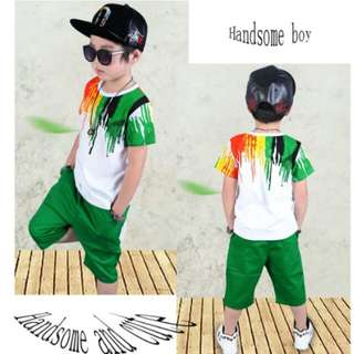 Children Clothing sets Summer Boys fashion Cotton Pattern Short Sleeve T shirts Shorts Clothes Sets Suits 3-12 years old