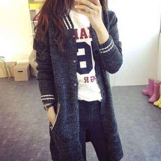 🚚 全新現貨 韓版 中長款 針織衫 寬鬆 毛衣外套