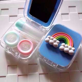Cute Contact Lens Container Mirror Cute Rainbow Case