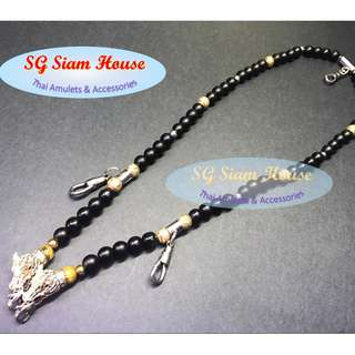 Black Agate Gemstone Necklace with Silver Accessories / Length 60cm / with ah fook hooks