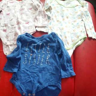 BABY CLOTHES {3 FOR -$1.50} BABYGAP,KIMBALOO & LITTLE FRUITZ GIRL 3×LONG SLEEVESS FOR 6-12MTHS.