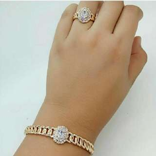 set gelang tangan+cincin model berlian mirip aslinya