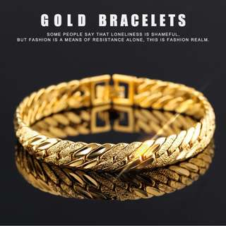 Men's 18K Thick Sneak Bone Gold Plated Bracelet