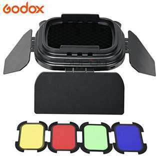 Godox BD-07 Barn Door with Detachable Honeycomb Grid and 4 Color Filters for Godox AD200 Pocket Speedlite Flash Head