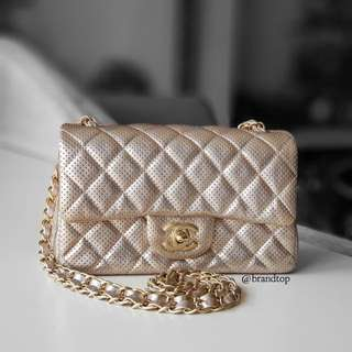 Authentic Chanel Lambskin Perforated Mini Flap