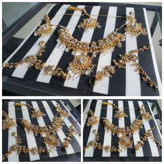 Crystal Jewellery Big Set. Necklace, Earrings, Headgear (Nethi Chudi) & Bracelet with ring