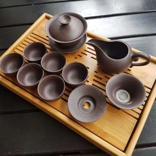 Chinese Tea Bamboo Tray with water drainage