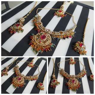 Colorful Jewellery Big Set. Necklace, Earrings with Headgear (Maatal) & Headgear (Nethi Chudi)