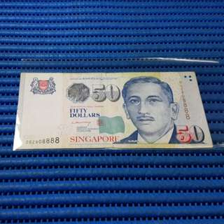 908888 Singapore Portrait Series $50 Note 2GZ908888 Nice Prosperity Number Dollar Banknote Currency