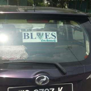 Blues On Board Car Sticker
