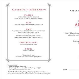 Valetine Day Dinner Promotion