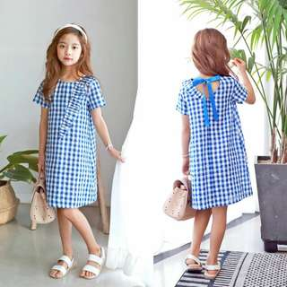 [INSTOCK] FRILLED BLUE CHECKERED DRESS - ADULT SIZE AVAILABLE