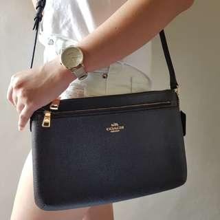 SALE!!!!!COACH East/West Crossbody/Shoulder Bag Black Crossgrain Leather F57788