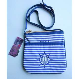 GARFIELD Blue Striped Crossbody Sling Bag