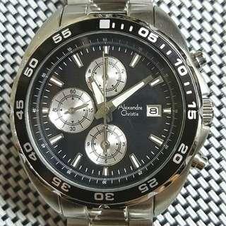 Alexandre Christie 1002mc 潛水錶,全新,底面膠紙未撕,錶頭42mm不連的,3ATM防水功能,20mm錶耳,有盒無單,$1150,有意pm