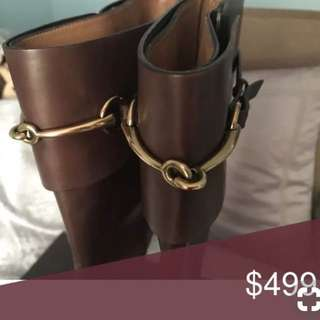 """Repriced!! """"Gucci"""" below the knee brown leather boots"""