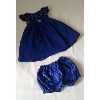 Lovely Navy Blue Dress for 1yo to 2yo with matching bloomer underwear - only worn ONCE