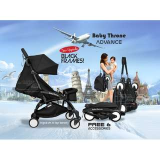 BLACK - Baby Throne ADVANCE Version lightweight Stroller