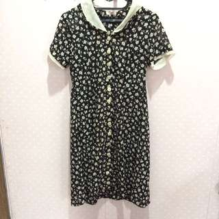 summer vintage black floral dress