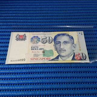 999099 Singapore Portrait Series $50 Note 0JQ 999099 Almost Solid 9's Nice Number Dollar Banknote Currency HTT ( 9 Head 9 Tail )