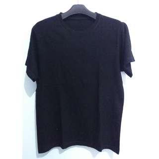 T-Shirt Built Up Hitam (Tanpa Jahitan Samping)