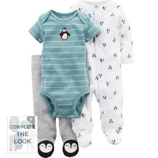 [PRICE REDUCED] Carter's 3-piece Penguin Sleep and Play Set (Brand New)