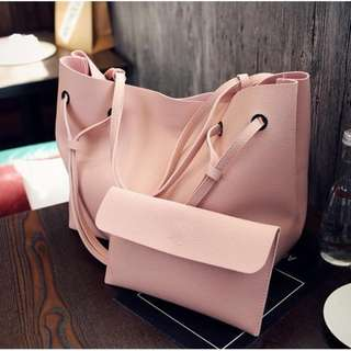 2 in 1 Korean Shoulder Bag Tote Bag with Pouch (PINK)