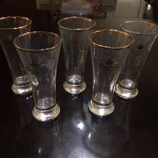 Vintage Set of 5 Carlsberg Lager Gold Rim Beer Glass