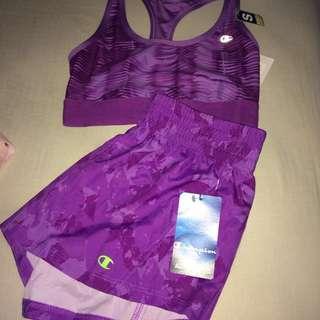 Champion sports bra / shorts