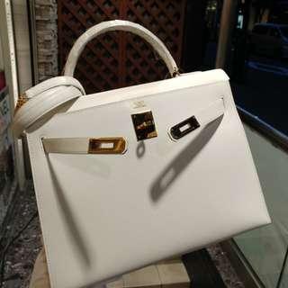 Hermes kelly 32 white