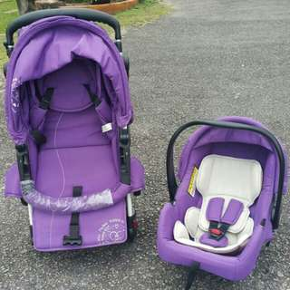 MY DEAR Baby Stroller with Carrier (Purple)..