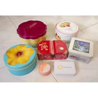 Assorted tin boxes
