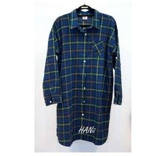韓長版格子襯衫(綠)