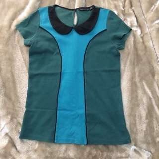 Blouse - green black
