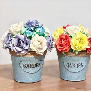 Paper Roses Potted Deco