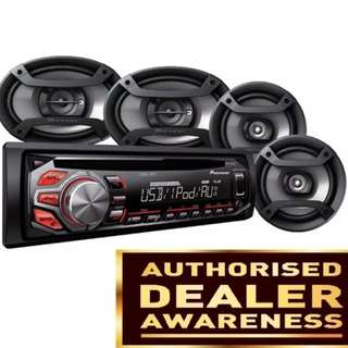 Pioneer DXT-1769UB Complete Car Audio Package