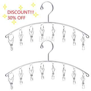 Value Pack - 2 x Stainless Steel  Cloth Hanger with 8 Clips ( DISCOUNT!!! 30% OFF )