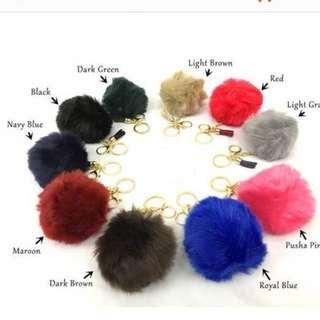 Fur ball with tassel Key chain Cell Phone Ball PomPom Handbag Pendant Charm Car Keychain  (MAROON)