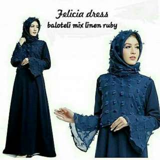 FELICIA DRESS NAVY OS  BAHAN BALOTELY MIX LINEN RUBY FIT L,HIGH QUALITY TANPA PASHMINA
