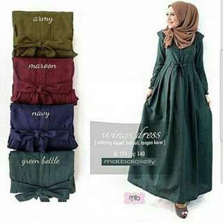 WINGS DRESS  BAHAN BALOTELY FIT L TANPA PASHMINA HIGH QUALITY