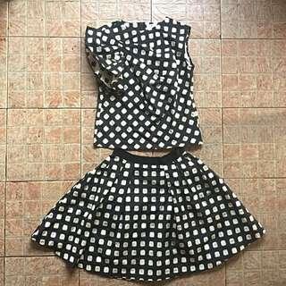 Lanvin en bleu Terno polka dotted top and skirt