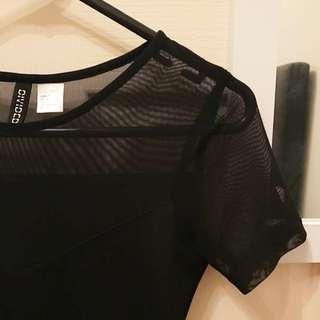 Black mesh sleeve skater dress