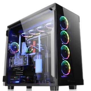Casing View 91 TG RGBTempered Glass*3 Double Packing/Color Box/Riing Plus 140mm Fan*4