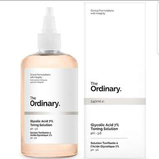 BNIB THE ORDINARY GLYCOLIC ACID TONER & EXFOLIATOR 240ML