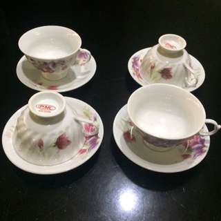 Set of 8pc Coffee/Tea Cups with Saucer