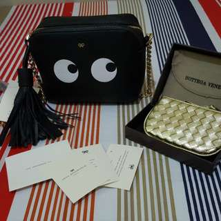 Black sling bag with free bottega coin purse