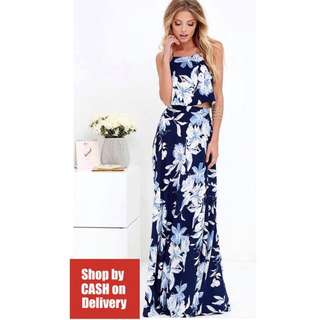 Blue floral maxi skirt terno