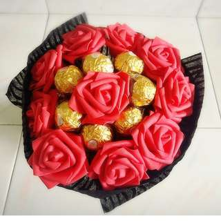 ❤ Premium Red Rose Ferrero Rocher Bouquet Flower for Gifts Valentines Day Gifts